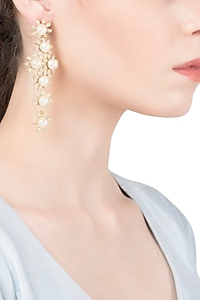 Gold Plated Cross Pearl Dangler Earrings