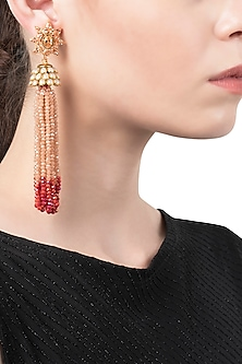 White and Coral Tassel Earrings