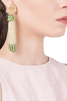 White and Green Tassel Earrings