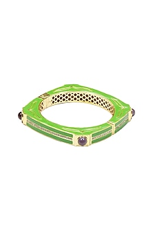 Green square enamel bangle by The Bohemian