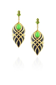 Navy blue and green criss cross earrings by The Bohemian