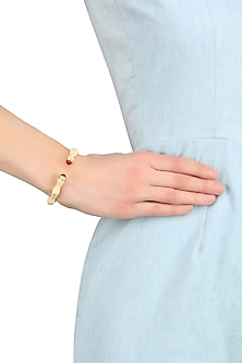 Gold Plated Ivory Enamel Bamboo Bracelet by The Bohemian