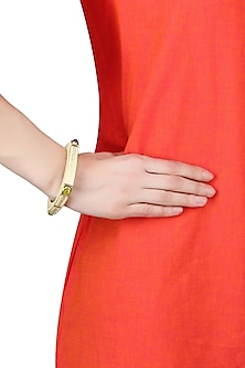 Gold Plated Ivory Enamel Square Bracelet by The Bohemian