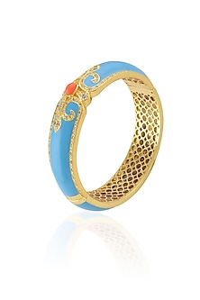 Gold Plated Turqoise Enamel Chantilly Vintage Bangle by The Bohemian