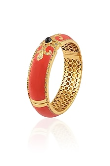 Gold Plated Coral Enamel Chantilly Vintage Bangle by The Bohemian