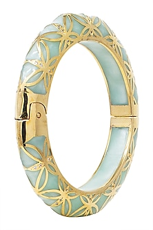 GOLD PLATED TEAL GREEN BANGLE by THE BOHEMIAN