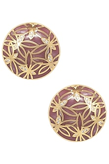 Gold Plated Pink Butterfly Stud Earrings by The Bohemian
