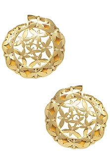 Gold Plated Amber Stud Earrings by The Bohemian