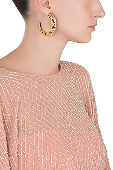 Gold Plated Red Hoop Earrings