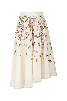 Pearl White Embroidered Asymmetrical Skirt