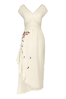 Pearl White Embroidered Asymmetrical Frills Midi Dress