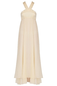Pearl White Embroidered Layered Maxi Dress