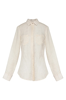 Pearl White Front Open Shirt