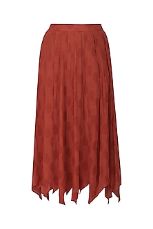 Rust Jacquard Panelled Asymmetric Midi Skirt