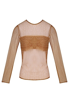 Copper Shimmer Pleats Sheer Top