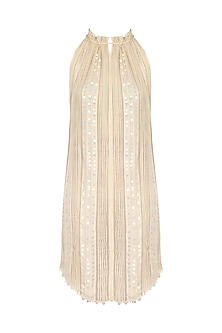 Pearl White Embroidered Gathers Dress