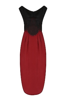 Maroon and Black Cutwork Fitted Dress