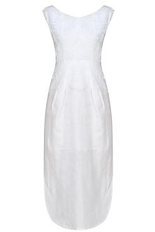 White organdi cutout sleeveless dress