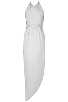 White maxi dress with handcrafted embroidered belt
