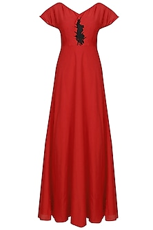 Red double layered maxi dress