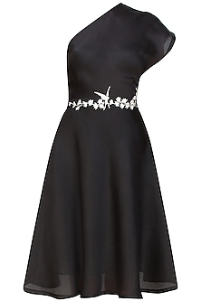 Black one shoulder midi dress with handcrafted embroidered belt