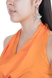 White Finish Swarovski Crystal Dove Earrings by Bansri