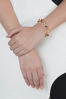 Gold Finish Agate Stones Adjustable Bracelet Bangle by Bansri