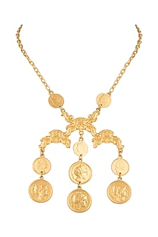 Gold Finish Vintage Inspired Coin Necklace by Bansri