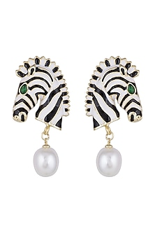 Gold Finish Enamelled Pearl Drop Zebra Earrings by Bansri