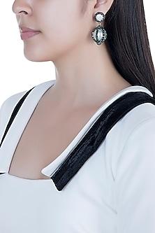 Black Rhodium Handcrafted Swarovski Crystal & Pearl Drop Earrings by Bansri
