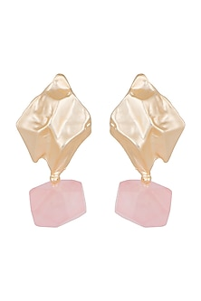 Matte Gold Finish Rose Quartz Stone Drop Earrings by Bansri