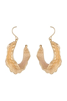 Gold Finish Carved Hoop Earrings by Bansri