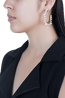 Gold Finish Pearl Hoop Earrings by Bansri