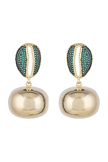 Gold Finish Swarovski Crystal, Emerald & Gold Ball Cowrie Shell Earrings by Bansri