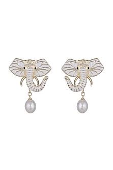 Gold Finish Enameled Safari Elephant Pearl Drop Earrings by Bansri
