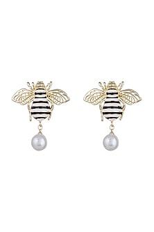 Gold Finish Enamelled Honey Bee Pearl Drop Earrings by Bansri