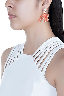 Gold Finish Coral Reef Enamelled Earrings by Bansri