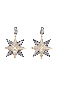 Gold & Gun Metal Finish Starsky Crystal Earrings by Bansri