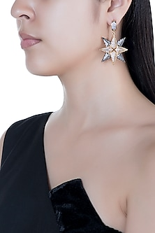 Gold & Gun Metal Finish Starsky Crystal Earrings by Bansri