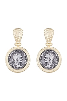 Gold & Gun Metal Finish Antique Coin Earrings by Bansri