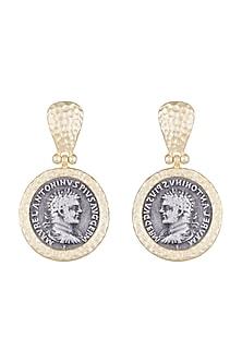 Gold & Gun Metal Finish Antique Coin Earrings by Bansri