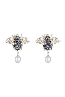 Gold & Gun Metal Finish Honey Bee Earrings by Bansri