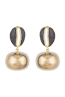 Gold Finish Swarovski Crystal & Gold Ball Cowrie Shell Earrings by Bansri