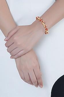 Gold Finish Peach Agate Stones Adjustable Bracelet Bangle by Bansri