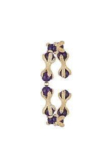 Gold Finish Purple Agate Stones Adjustable Bracelet Bangle by Bansri