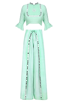 Mint Green Mirror Work Crop Top and Wrap Pants Set
