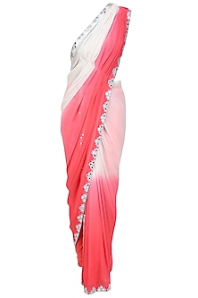Coral and White Ombre Shaded Mirror Work Saree, Churidaar Pants and Blouse Set