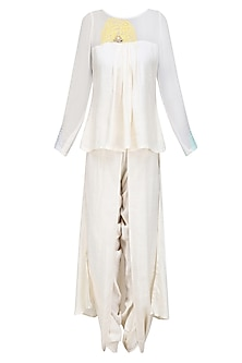 Off White Mirror Embroidered High Low Kurta and Dhoti Pants Set