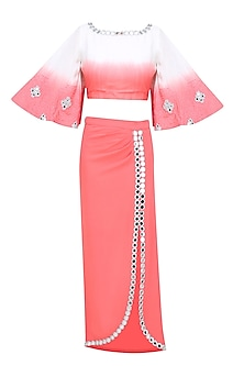 Coral and White Ombre Shaded Mirror Work Crop Top and Pencil Fitted Skirt Set