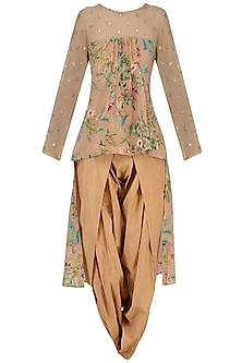 Beige Embroidered High-Low Floral Print Kurta with Dhoti Pants